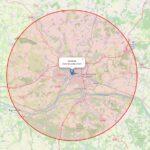 carte de sortie dans un rayon de 20km